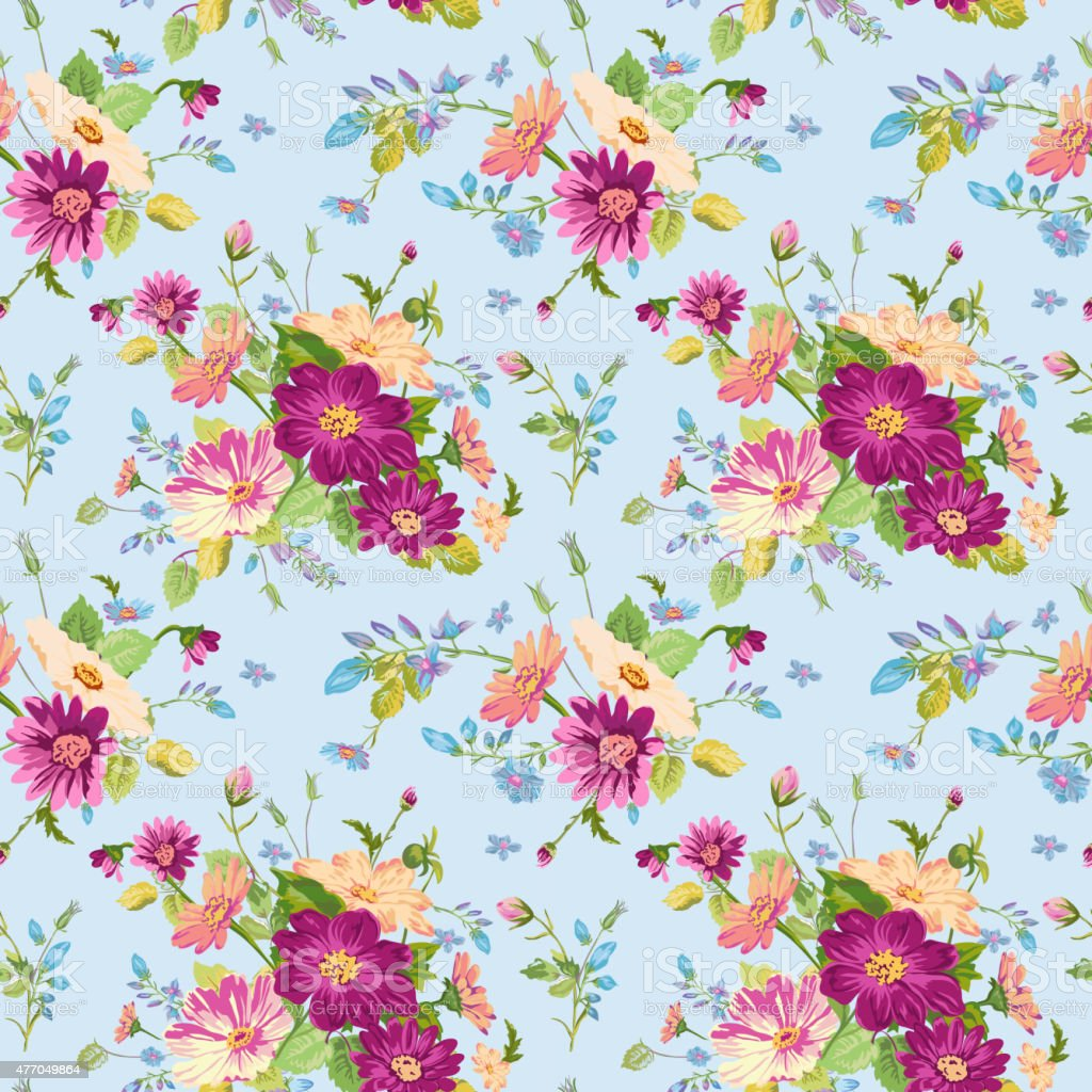 Vintage Floral Background Seamless Pattern For Design Print Stock