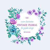 Vector floral background. Wedding card with round frame. Flowers botanical drawing in watercolor style. Floral bunch blue and lilac roses, leaves, greenery.