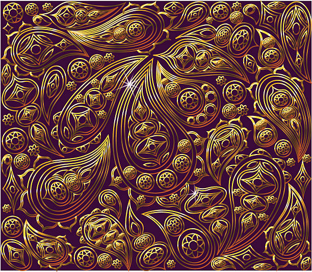 Vintage Floral Background Vector Royal Gold And Purple Pattern Oriental Art Illustration
