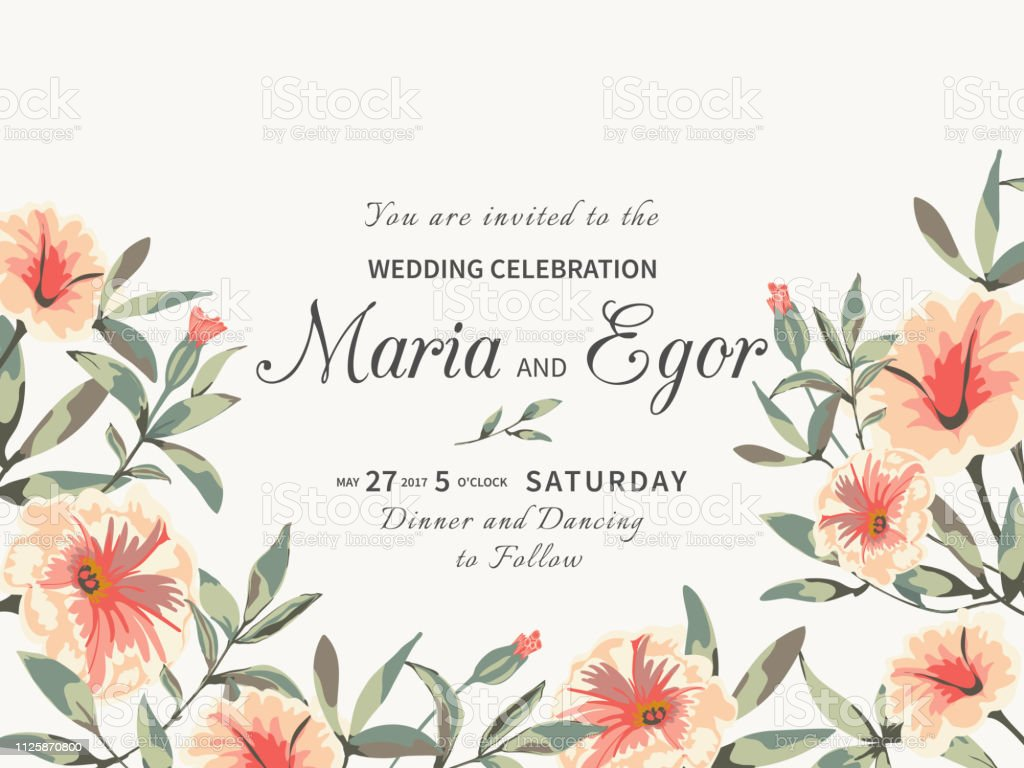 Vintage Floral Background Wedding Card With Delicate Petunia