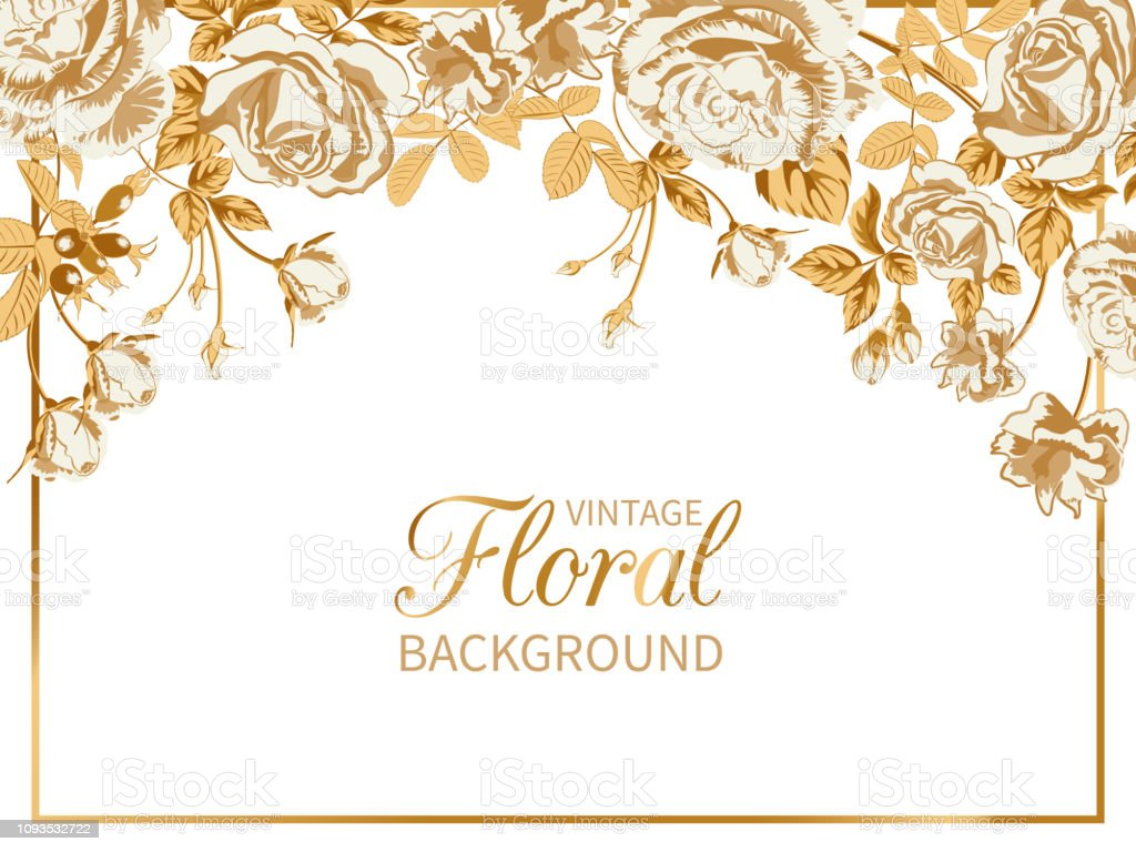 Vintage Floral Background With Frame Of Golden Roses Stock