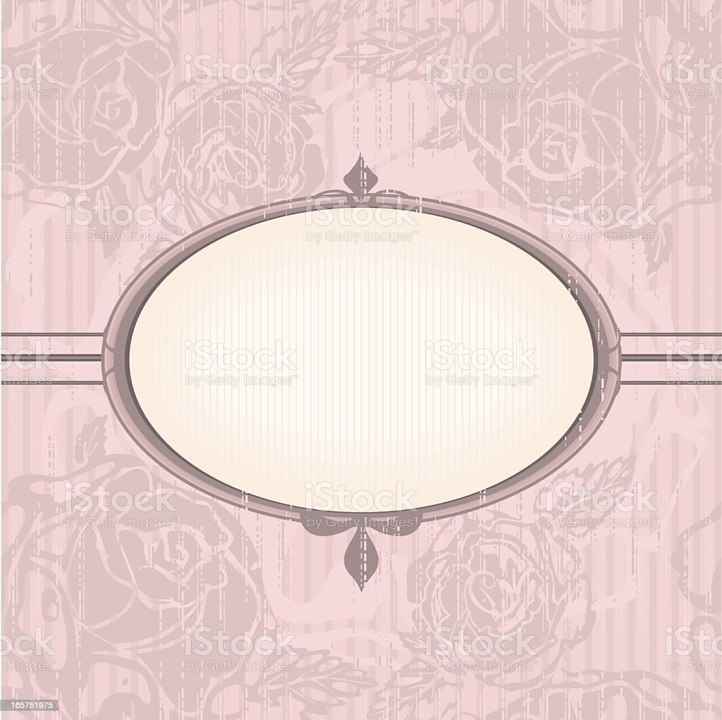 Vintage Floral Background With Oval Frame In Neutral Pink Colors Royalty Free