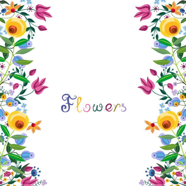 Vintage floral border. Abstract fancy flowers. Summer blooming frame at white background. Card or wedding invitation template. Watercolor painting imitation vector illustration. flowerbed stock illustrations