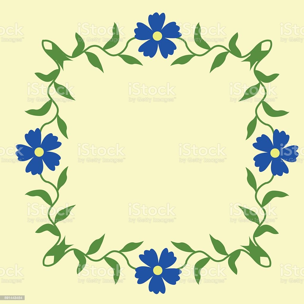 Vintage Floral Border With Blue Flowers Decorated With Green Leaves
