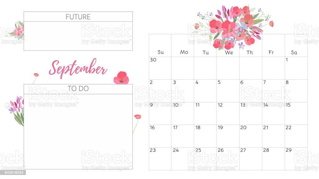 2018 Calendar Vintage : Vintage floral calendar stock vector art more