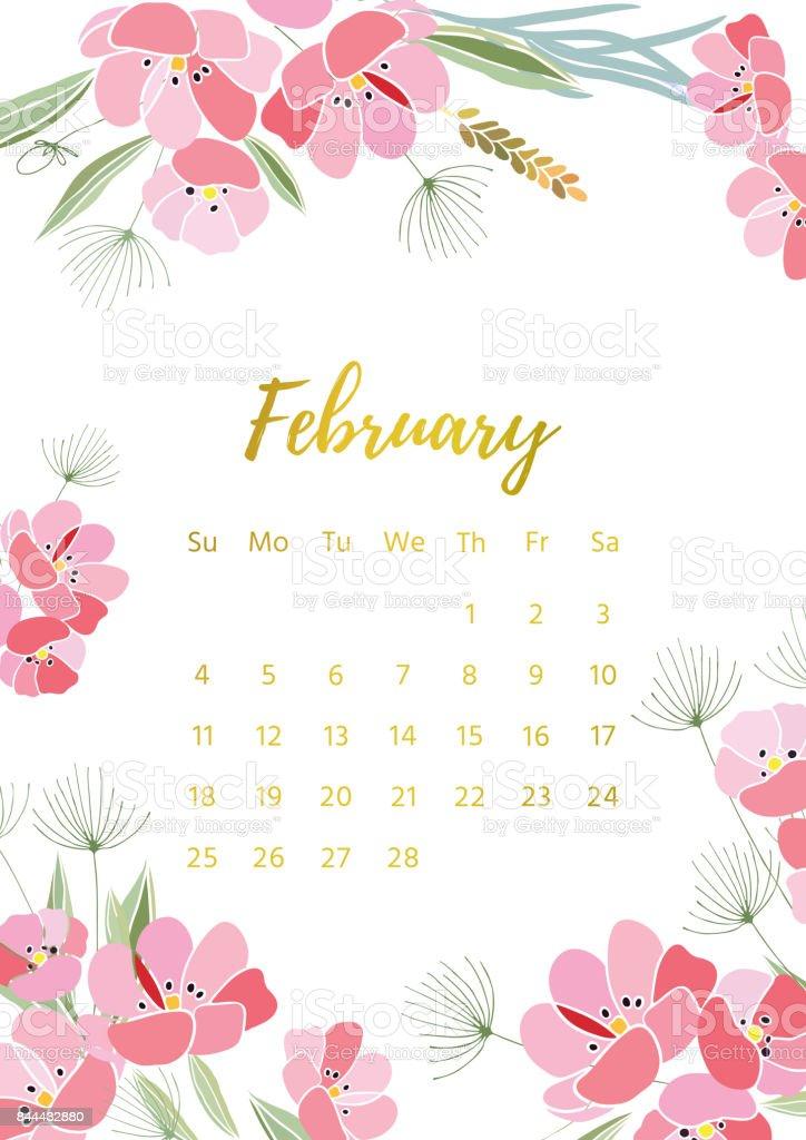 February 2018 Calendar Vintage : Vintage floral calendar stock vector art more