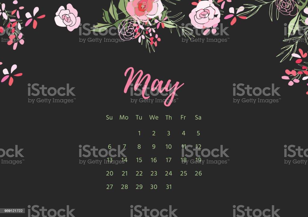 Vintage floral calendar 2018 vector art illustration