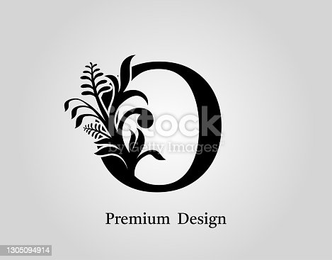 istock Vintage Floral Calligraphic O Letter Icon Design. 1305094914