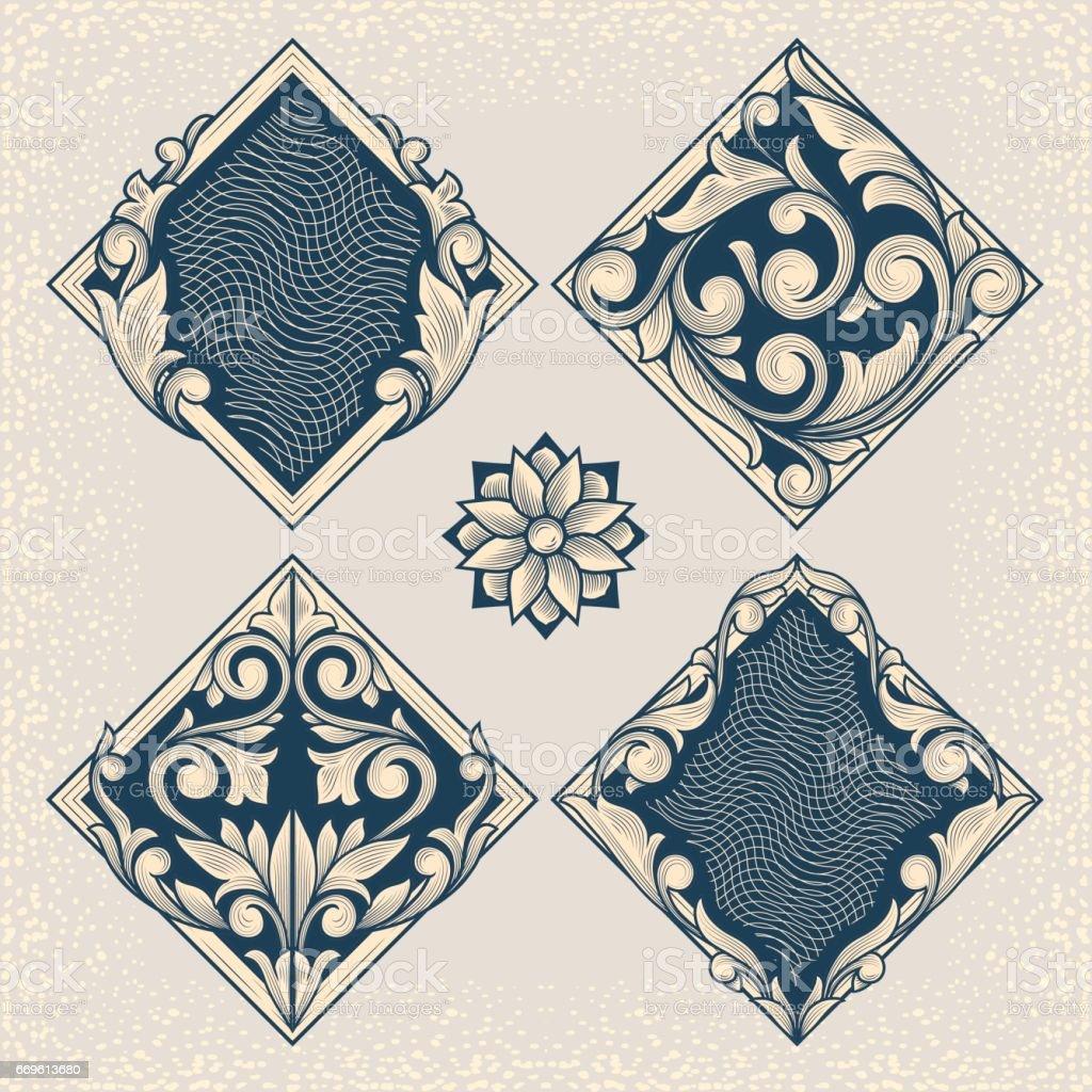 Elementos de design floral Vintage - ilustração de arte em vetor