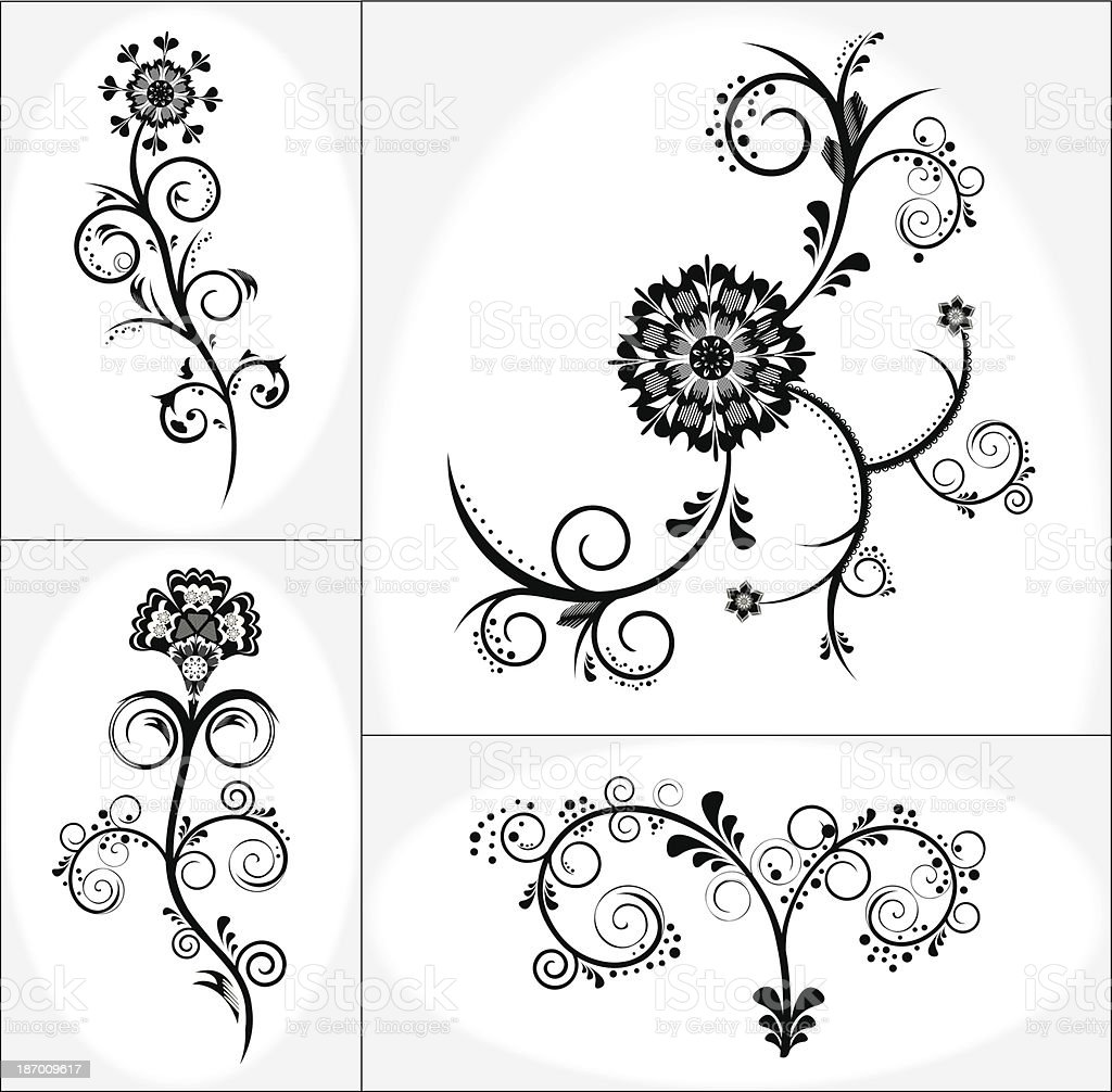 Vintage floral design vector set royalty-free vintage floral design vector set stock vector art & more images of abstract