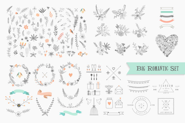 Vintage floral elements. Set of flowers, icons and decorative elements. http://www.pixic.ru/i/I0f093S711f263E5.jpg bird borders stock illustrations