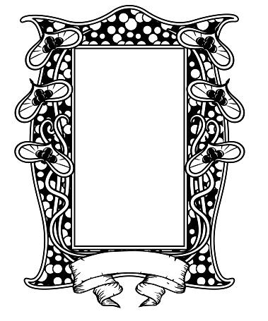 vintage floral frame black and white. Art nouveau design. vector illustration.