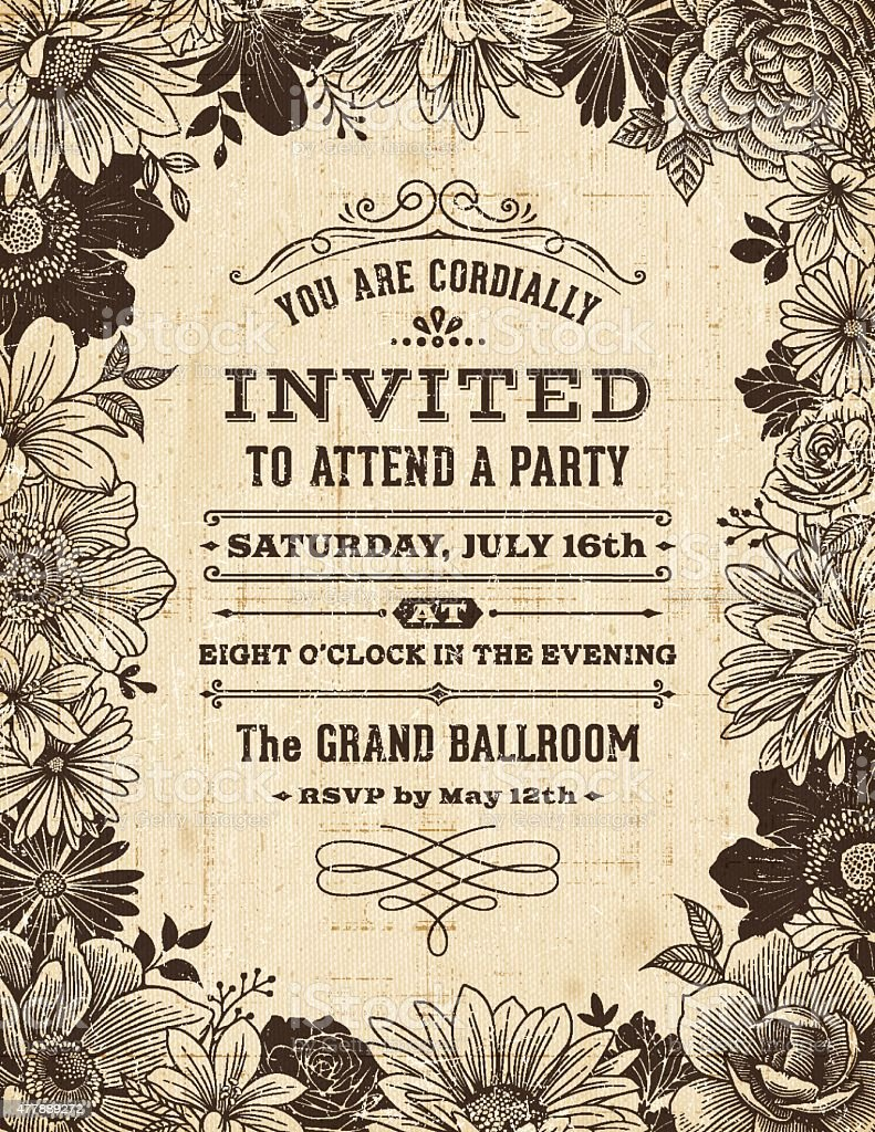 Vintage Floral Frame Invitation Vintage flower frame background on old paper,canvas texture.EPS 10 file with transparencies. File is layered with global colors.Hi res jpeg without text and uncropped AI 10 included.More works like this linked below. 2015 stock vector