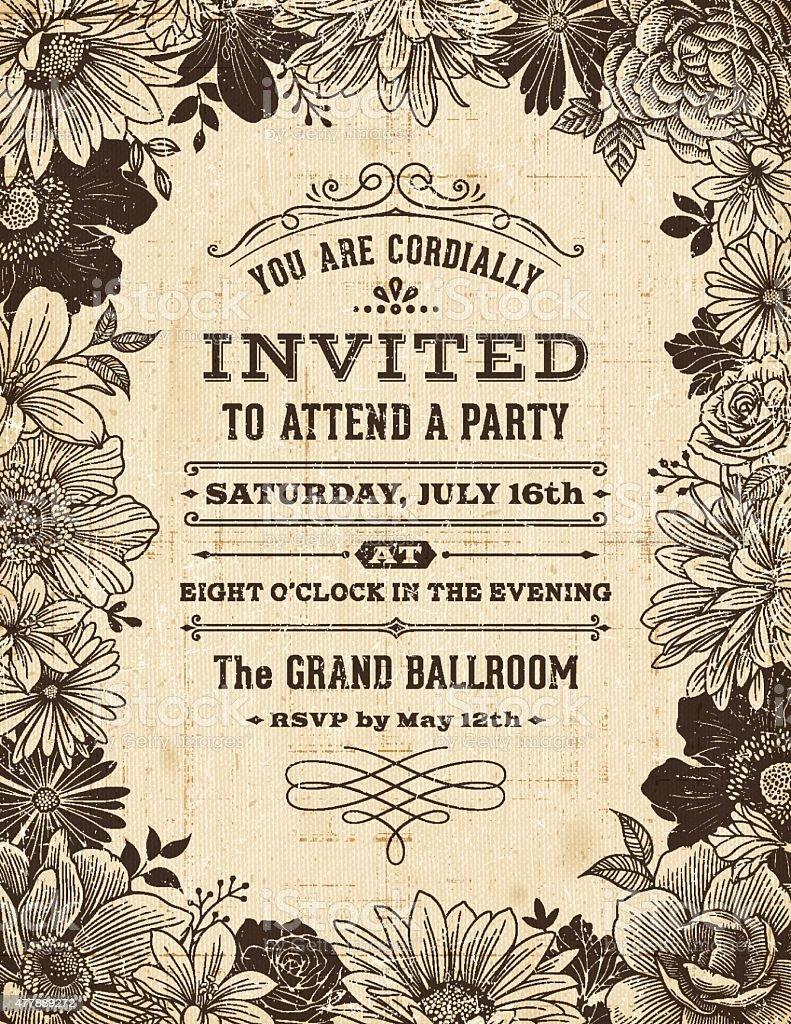 Vintage cadre Floral Invitation - Illustration vectorielle