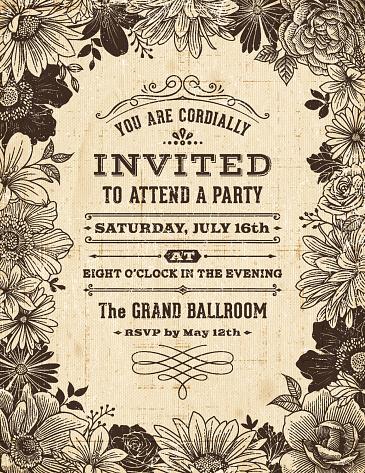 Vintage Floral Frame Invitation Stock Illustration - Download Image Now