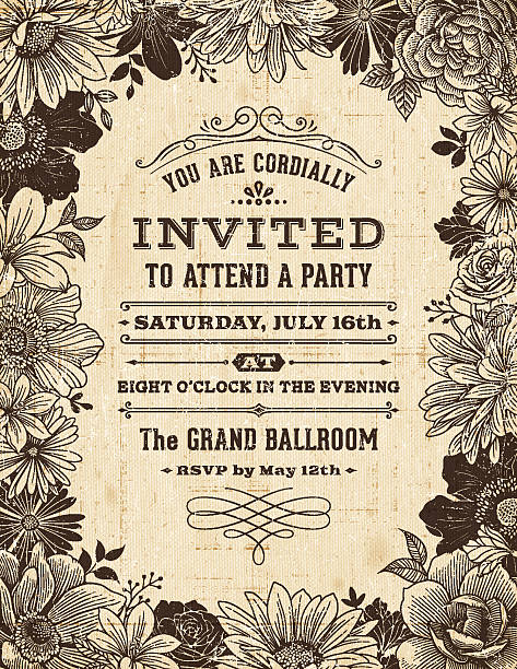 vintage floral frame invitation - floral borders stock illustrations, clip art, cartoons, & icons