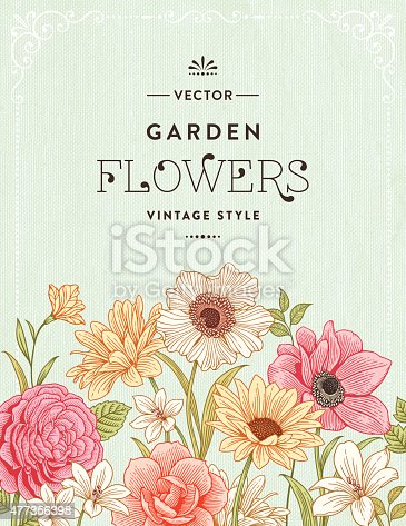 Colorful flower frame with vintage flowers.File is layered with global colors.Hi res jpeg without text and uncropped AI 10 included.More works like this linked below.