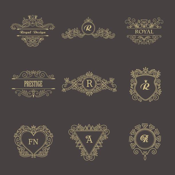 vintage floral-rahmen für ihr logo, einladung, hochzeit hintergrund. - monogrammarten stock-grafiken, -clipart, -cartoons und -symbole