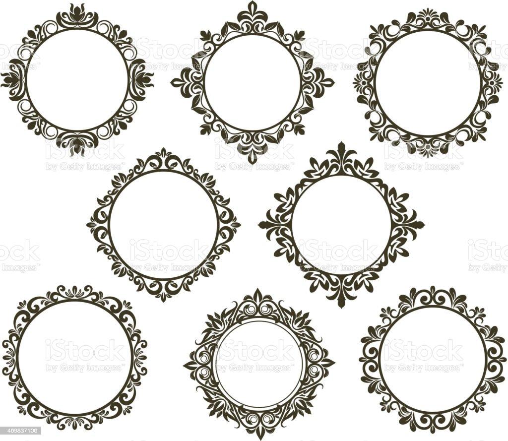 Vintage floral frames set vector art illustration