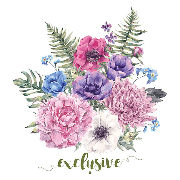 Vintage floral greeting card with anemones vector art illustration