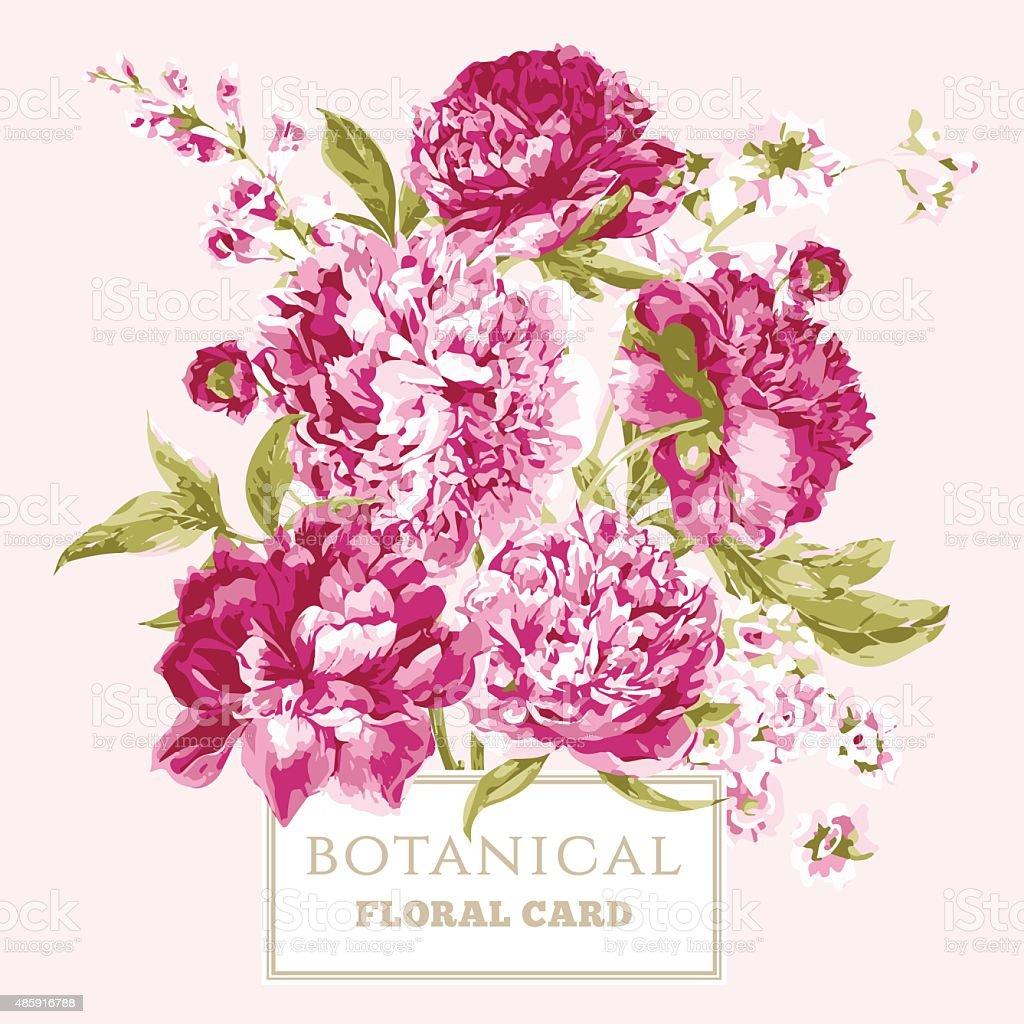 Vintage floral greeting card with blooming peonies stock vector vintage floral greeting card with blooming peonies royalty free vintage floral greeting card with blooming kristyandbryce Images