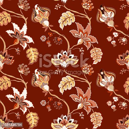istock Vintage floral luxury seamless pattern, background. Whimsical flowers Jacobean, elegant style on red background 1331336754