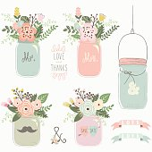 Vintage Floral Mason Jar- Illustration