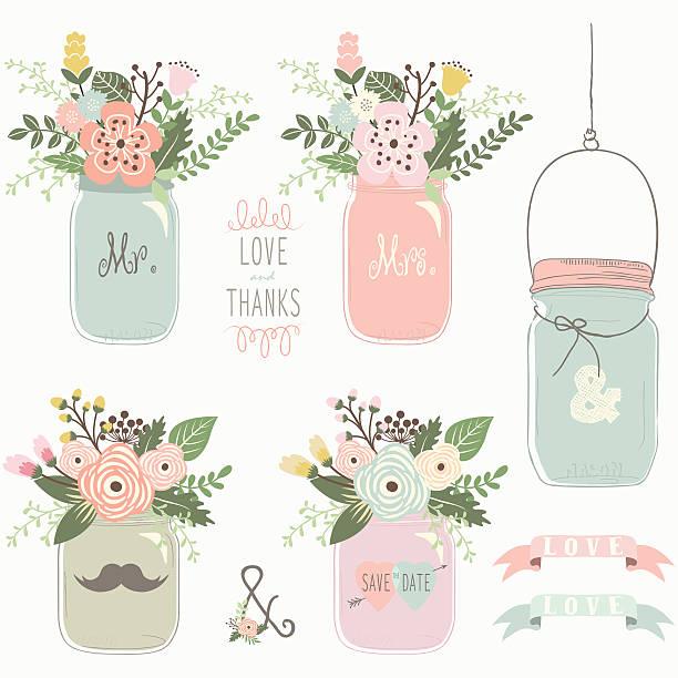 jahrgang floral mason glas- illustrationen - glasblumen stock-grafiken, -clipart, -cartoons und -symbole