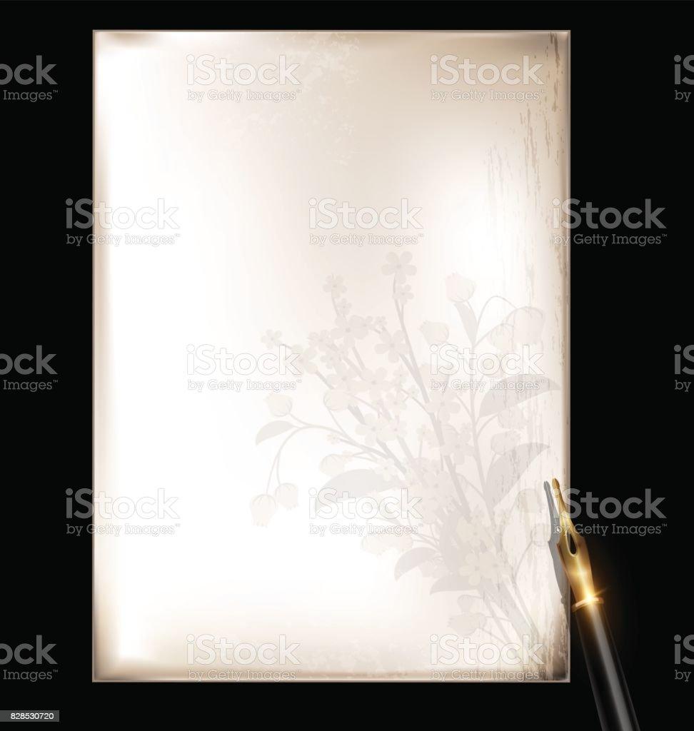 vintage floral page and bronze pen vector art illustration