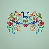 Vintage floral peacocks bird image illustration