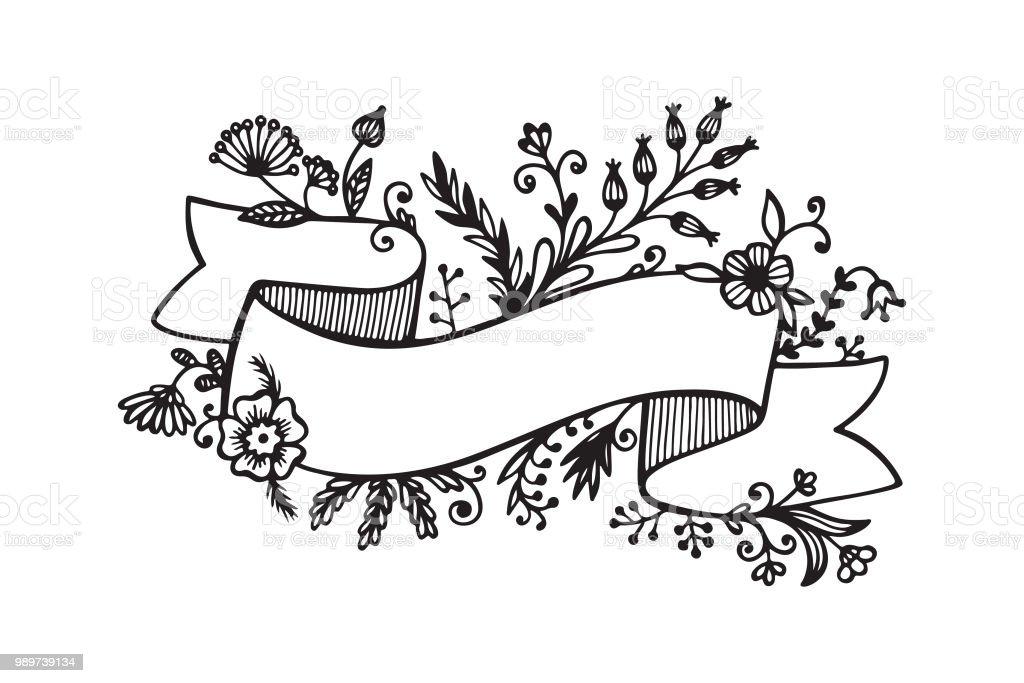 復古的花絲帶手繪塗鴉橫幅與野生花卉黑白向量插圖 向量插圖及更多 俄羅斯 圖片 989739134 | iStock