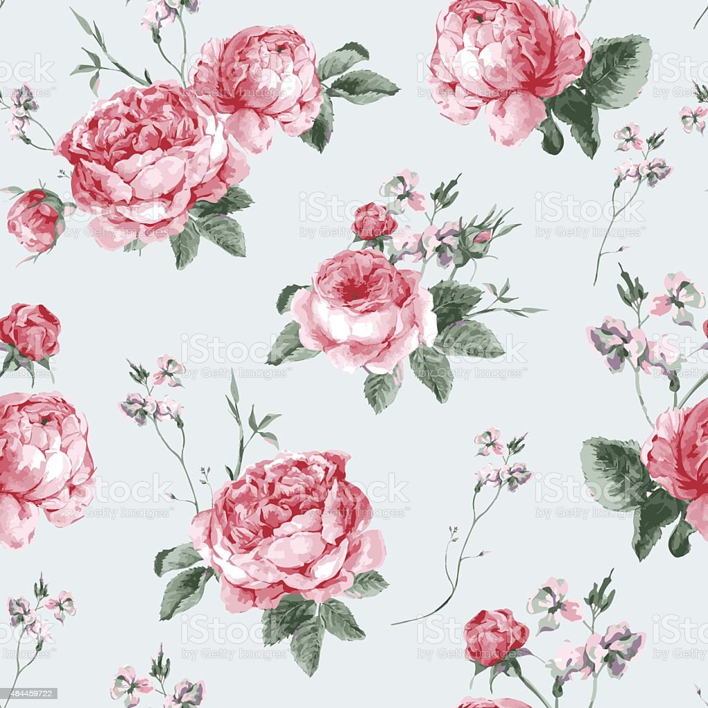 Vintage Floral Seamless Background with Blooming English Roses vector art illustration
