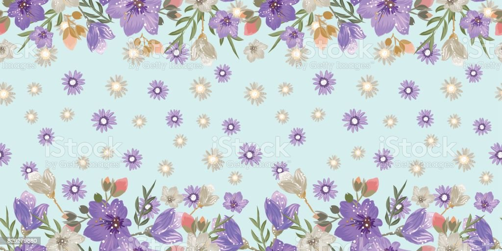 Vintage Floral Seamless Border With Campanula And Daisy Flowers For Textile Wallpaper Scrapbooking