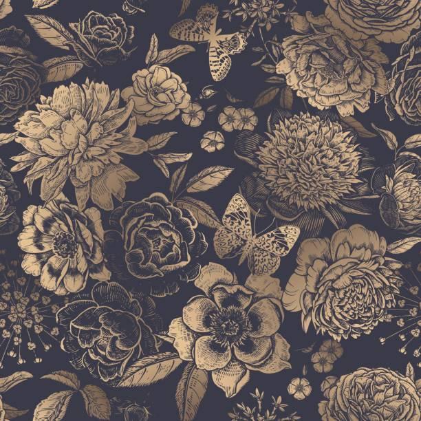 vintage floral nahtlose muster. pfingstrosen, rosen und schmetterlinge. - gartenfolie stock-grafiken, -clipart, -cartoons und -symbole