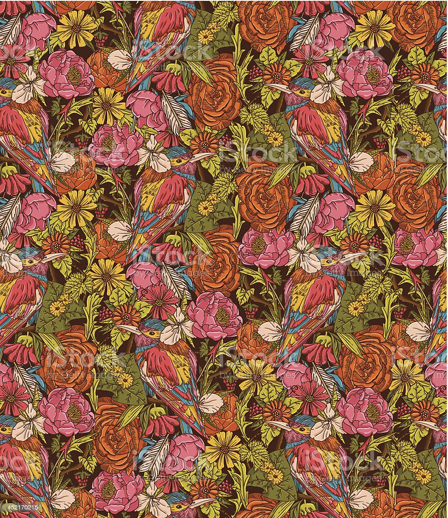 Vintage floral seamless pattern with humming bird royalty-free vintage floral seamless pattern with humming bird stock vector art & more images of abstract