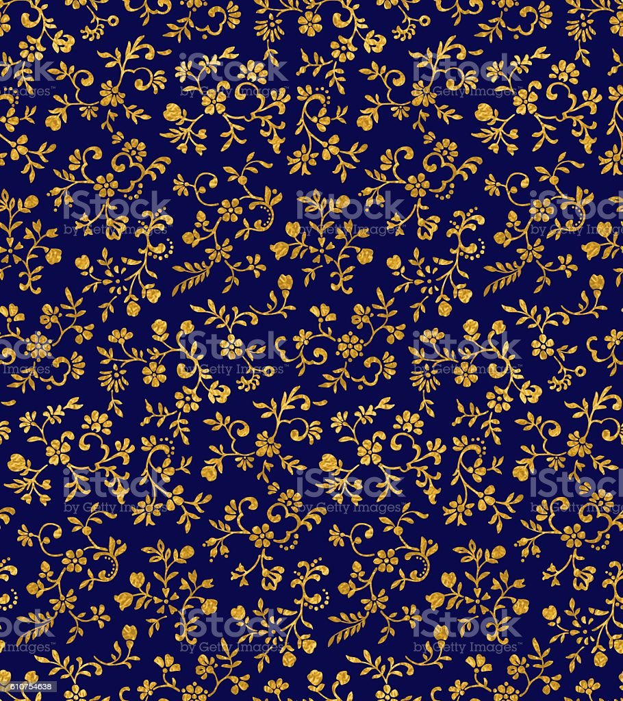 Vintage floral seamless pattern with tiny flowers vector art illustration