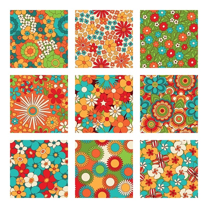 Vintage floral seamless patterns set. Psychedelic or hippie style backgrounds. Abstract flowers and groovy colors. Vector illustration.
