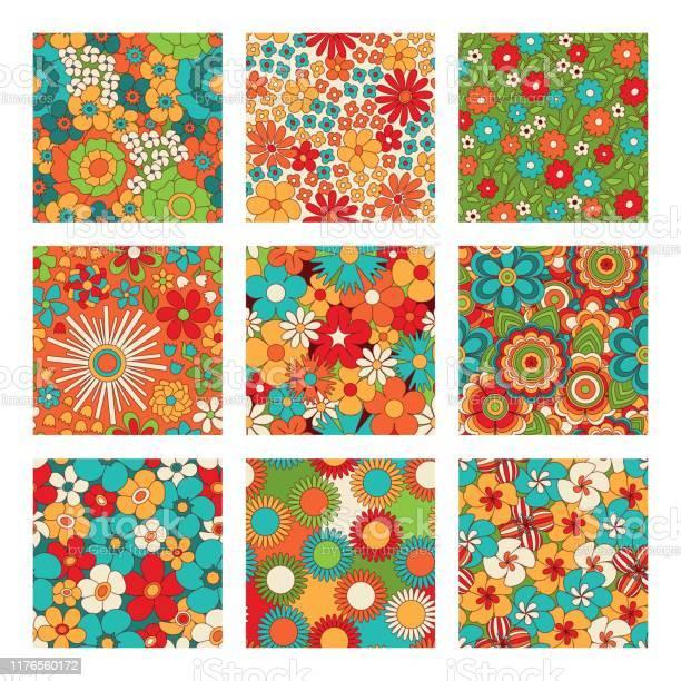 Vintage floral seamless patterns set psychedelic or hippie style vector id1176560172?b=1&k=6&m=1176560172&s=612x612&h=zvaympmegcd6l 2mt1o0nnxtzfpza7rf6v 8  7gq7m=