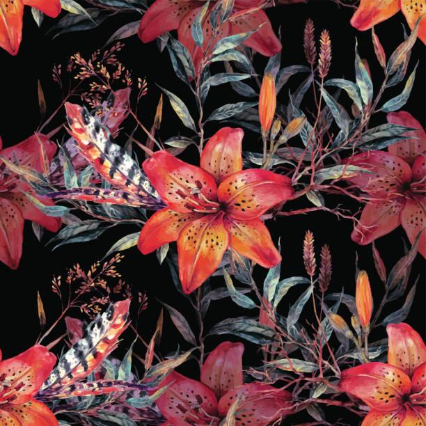 Vintage floral seamless watercolor pattern - ilustración de arte vectorial
