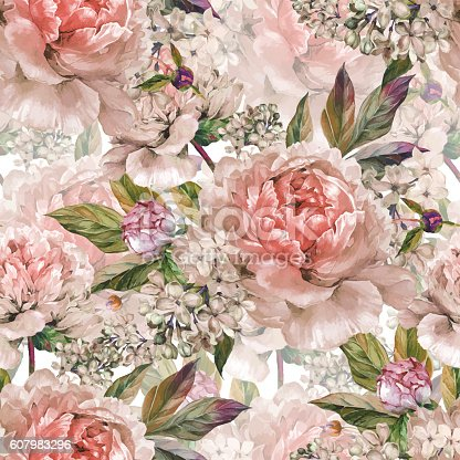 Watercolor floral seamless pattern. Bouquet of watercolor light rose peonies, buds, white lilac and green leaves. Hand drawn botanical Illustration in trendy vintage style. Shabby chic.