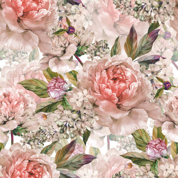 illustrazioni stock, clip art, cartoni animati e icone di tendenza di vintage floral seamless watercolor pattern - sfondo matrimoni