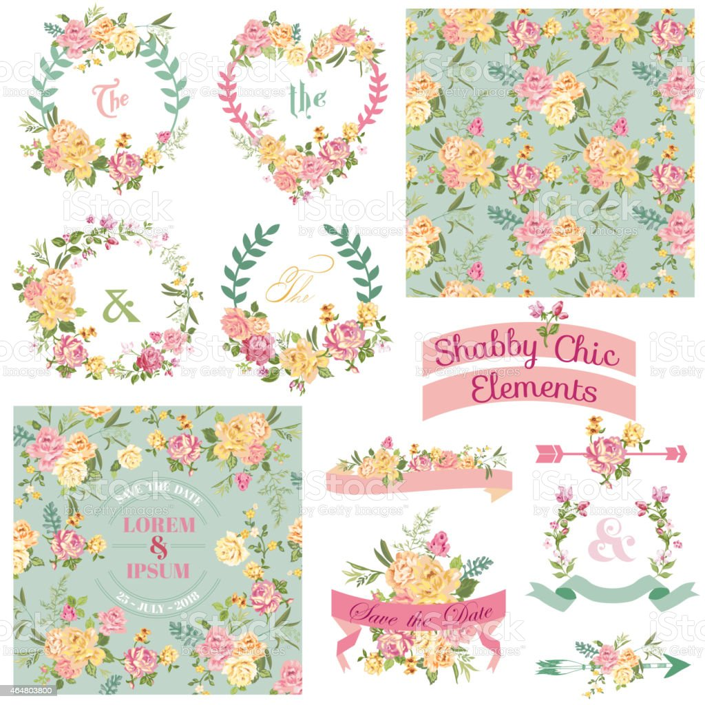 Vintage Floral Set Frames Ribbons Backgrounds Stock Illustration