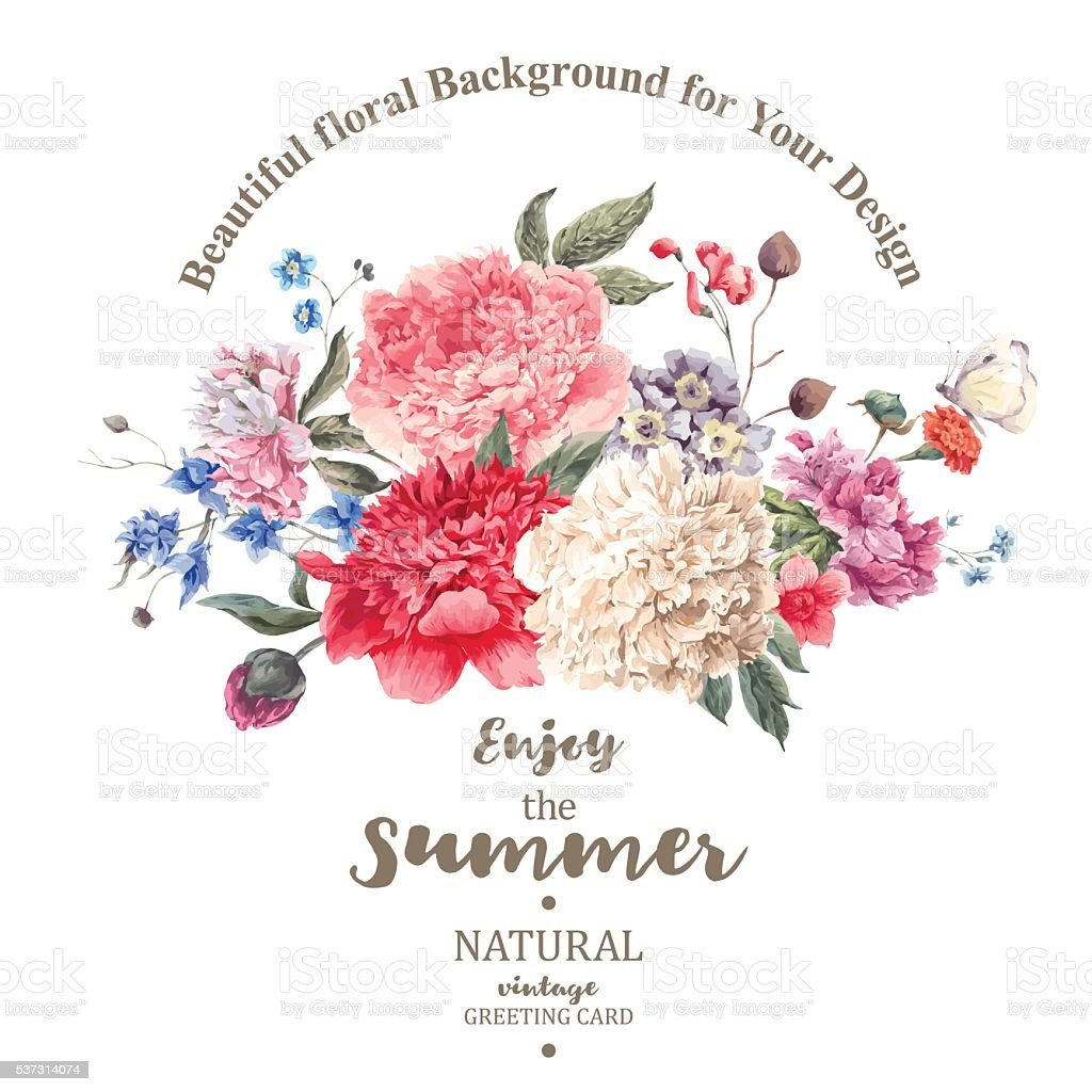 Vintage floral vector bouquet of peonies and garden flowers vector art illustration