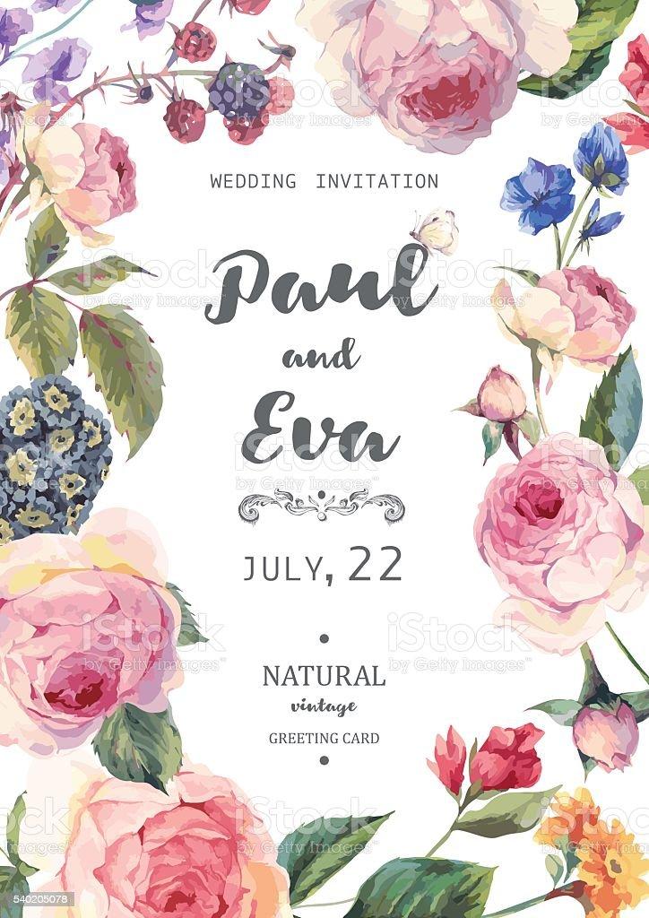 Vintage Floral Vector Roses Wedding Invitation Stock Vector Art ...