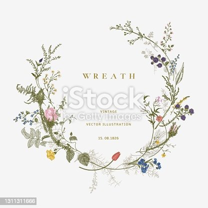 istock Vintage floral vector wreath. Victorian 1311311666