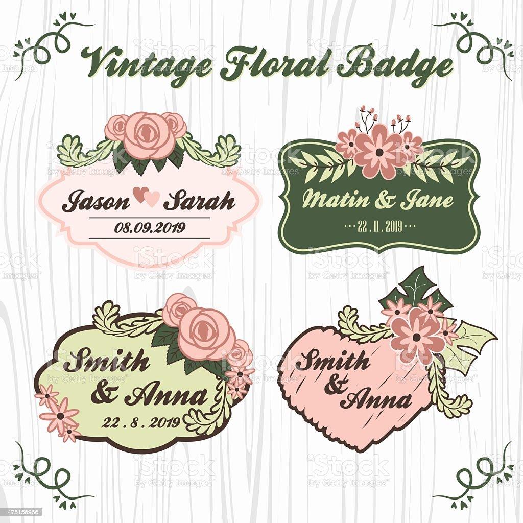 Ilustracion De Logotipo De Flores Vintage Tarjeta De Boda Y Mas
