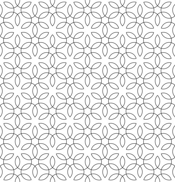 stockillustraties, clipart, cartoons en iconen met vintage bloeien naadloze black and white pattern - bloemenmotief