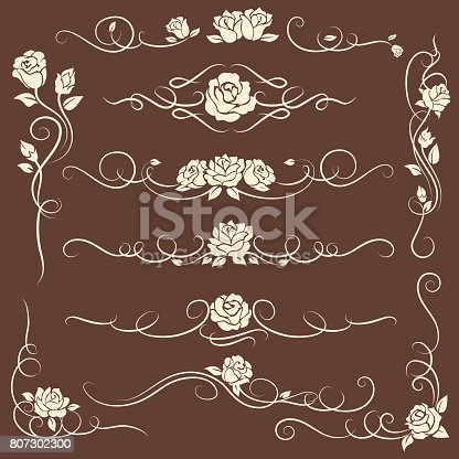 istock Vintage flourish ornaments with roses 807302300