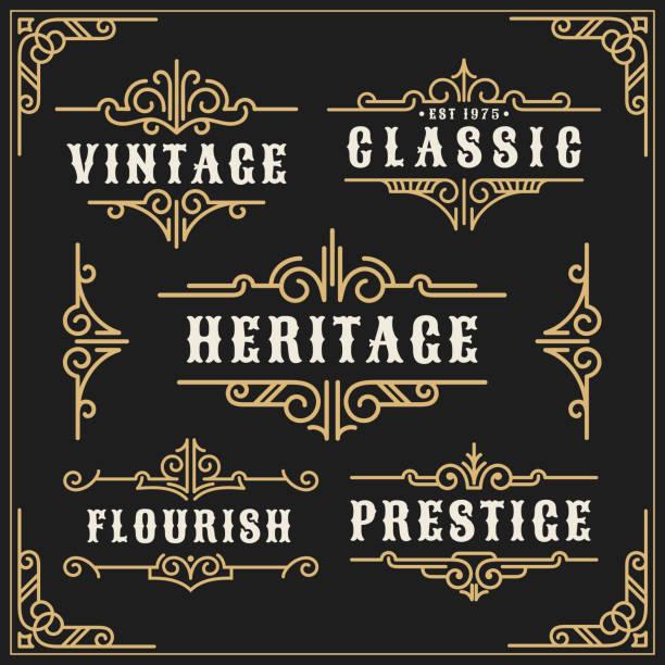 빈티지 flourishes 포도 나무 프레임과 고급 서 예 장식 프레임 - 모던 양식 stock illustrations