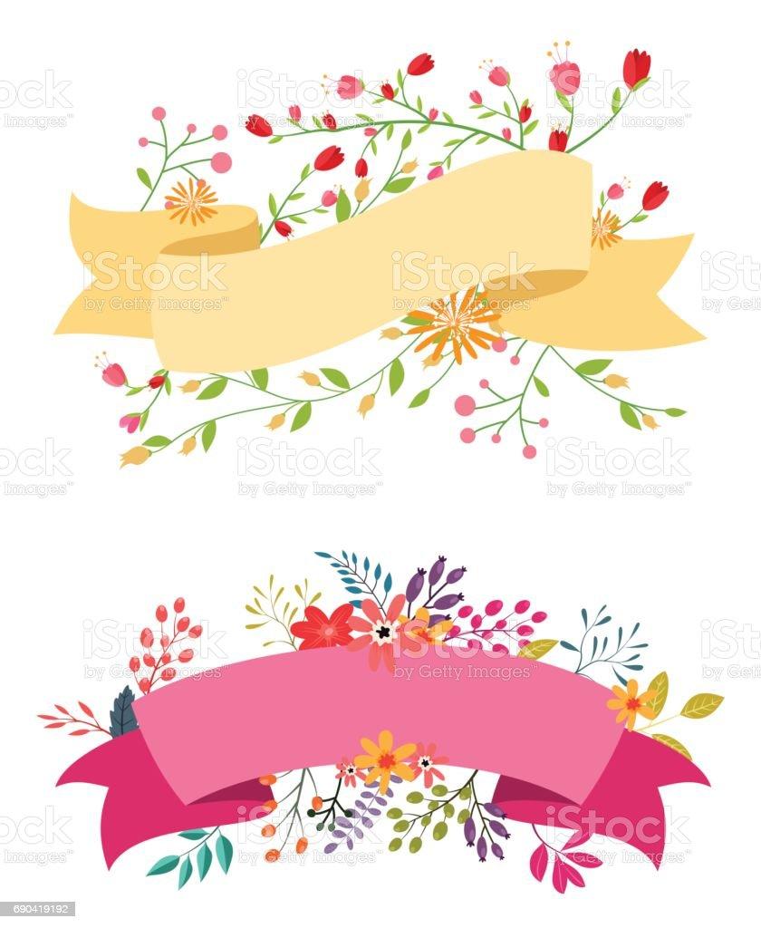 Vintage Flower Banner With Ribbon Stock Illustration ...